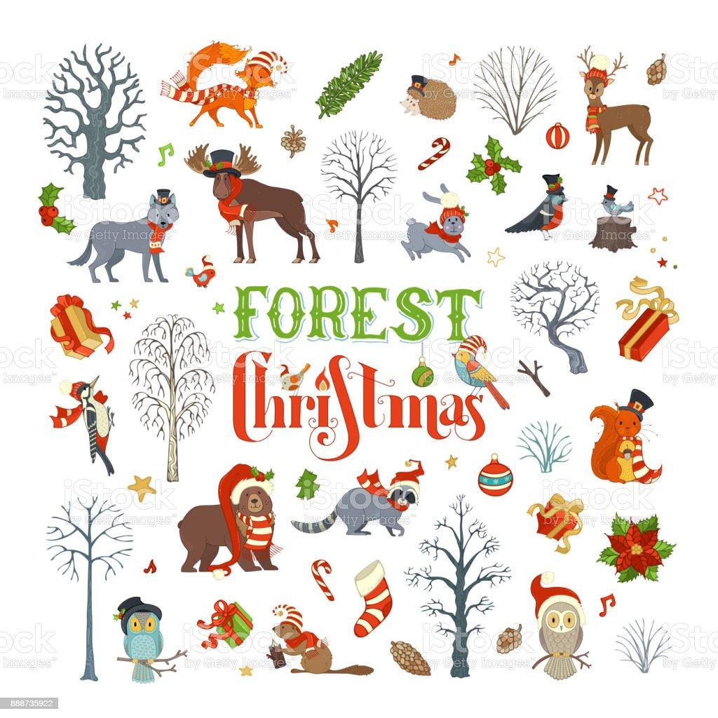 Forest Christmas. vector art illustration