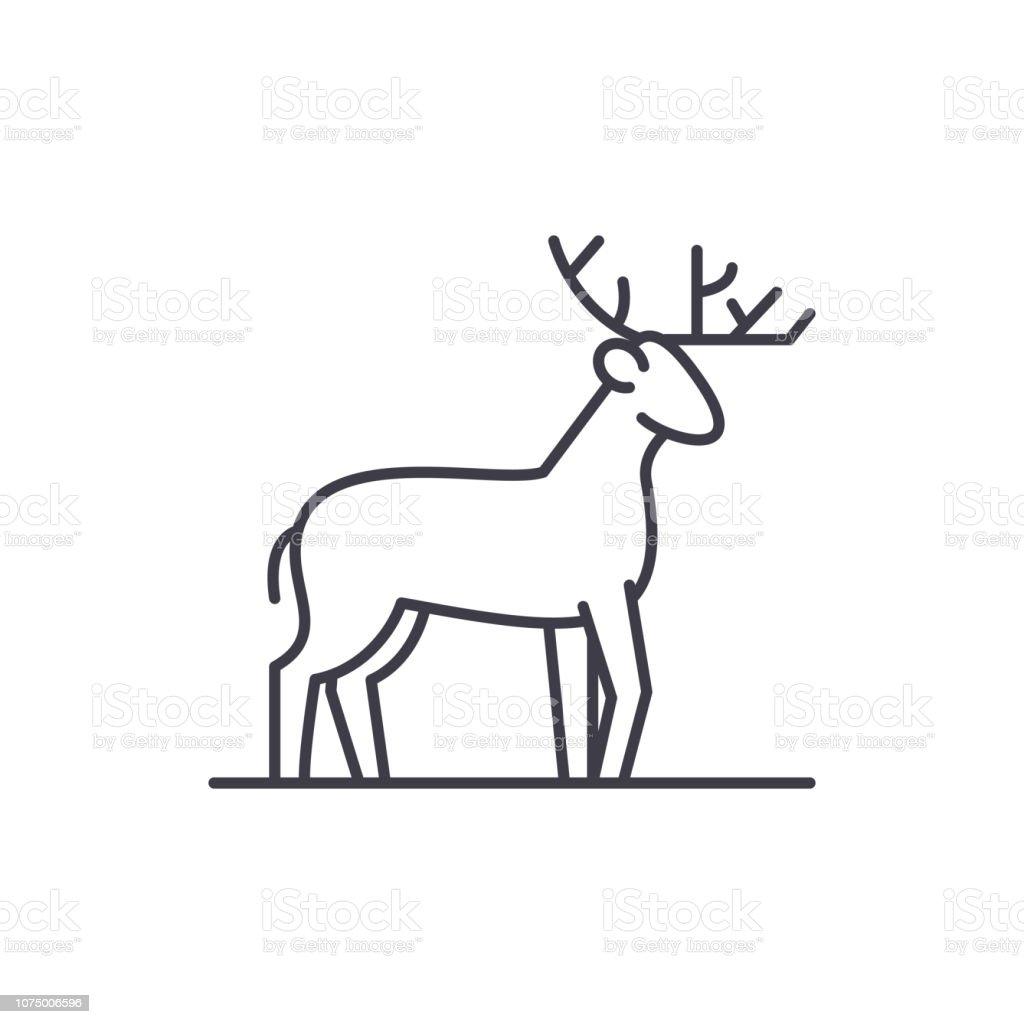 Forest deer line icon concept. Forest deer vector linear illustration, symbol, sign vector art illustration