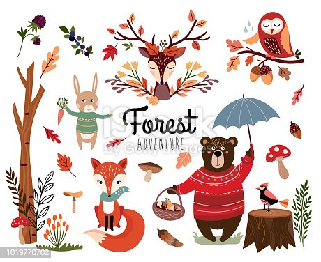 Forest elements collection with autumnal background, hand drawn seasonal items isolated on white