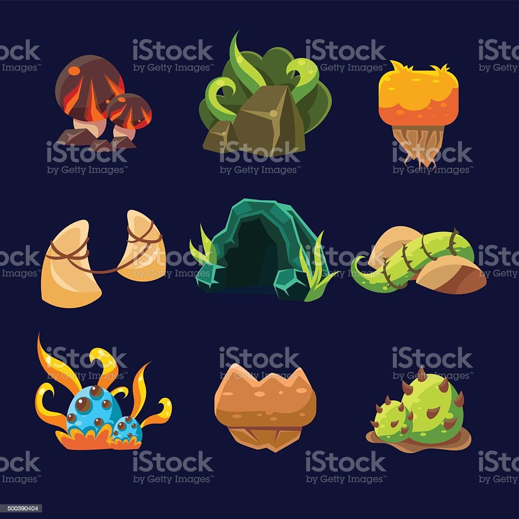 Forest Elements for Game. Vector Set vector art illustration