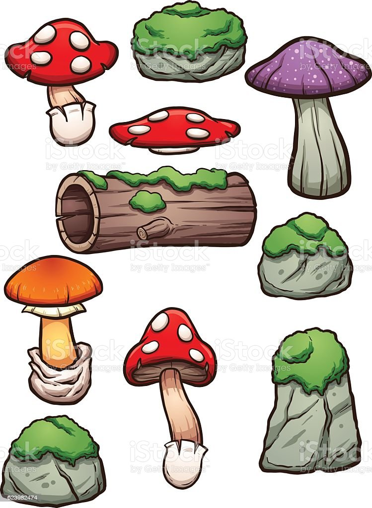 Forest elements vector art illustration