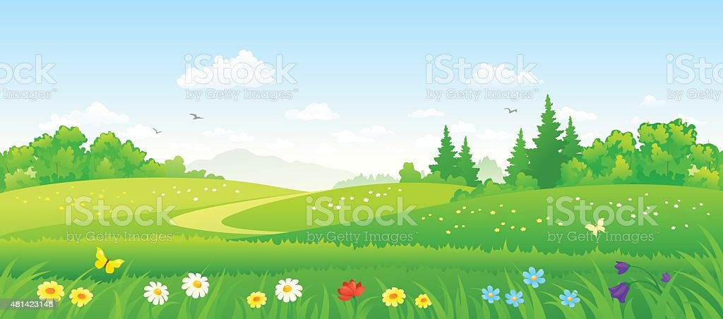 Forest fields vector art illustration
