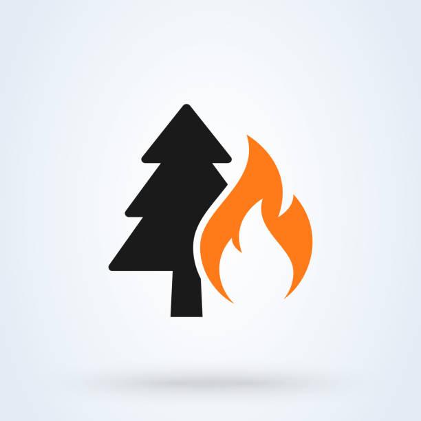 bildbanksillustrationer, clip art samt tecknat material och ikoner med forest fire enkel vektor modern ikon design illustration. - skog brand