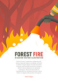 Forest fire vector placard. Fire safety illustration. Precautions the use of fire poster template. A firefighter fights a woods fire cartoon flat design. Natural disasters.