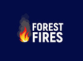 Forest fires. Bonfire with text, flat logo template. Isolated vector illustration on white background