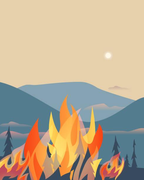 bildbanksillustrationer, clip art samt tecknat material och ikoner med skogsbränder katastrof bergs träd platt vektor illustration - skog brand