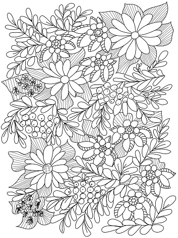 Forest flowers, leaves and berries. Vector coloring book pages for adult and children. Hand drawn illustration. Love bohemian concept for wedding invitations, cards, congratulations, branding, boutique logo, label. Web and mobile interface