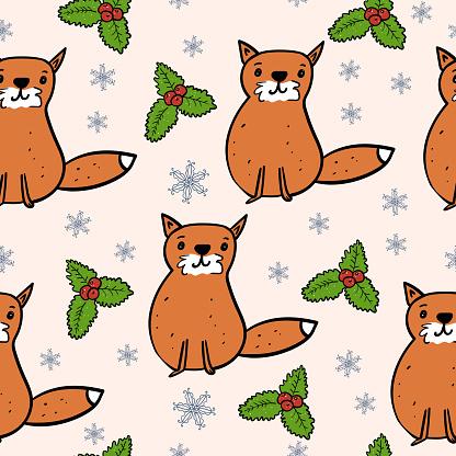 Forest Fox and Christmas Mistletoe. Seamless Snowflake Pattern