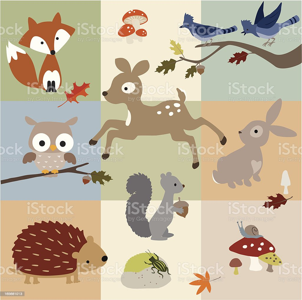 Forest Friends vector art illustration