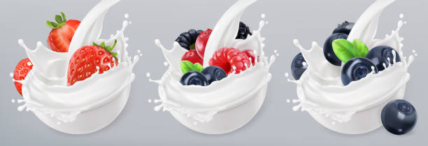 Forest fruit yogurt. Strawberry, raspberry, blueberry. Mixed berry and milk splashes. 3d realistic vector icon set Forest fruit yogurt. Strawberry, raspberry, blueberry. Mixed berry and milk splashes. 3d realistic vector icon set fruit silhouettes stock illustrations
