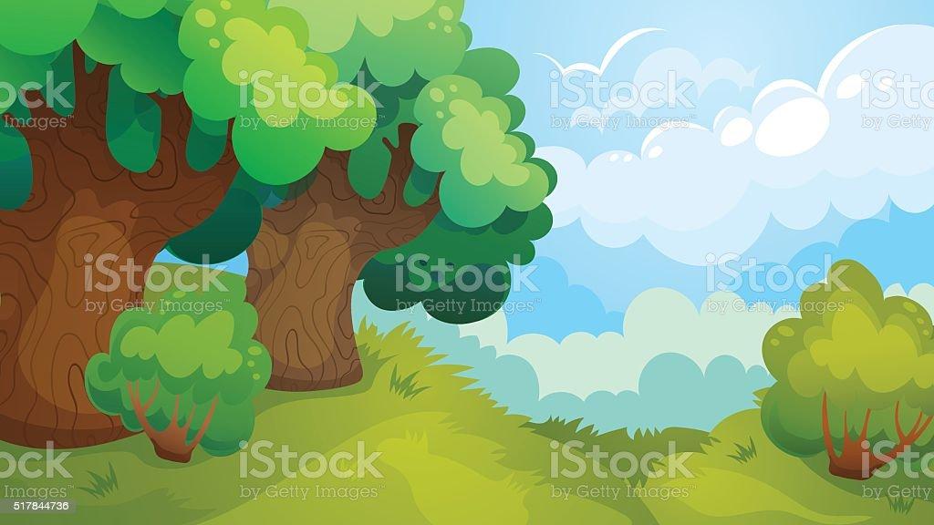 Forest Glade Game Background vector art illustration