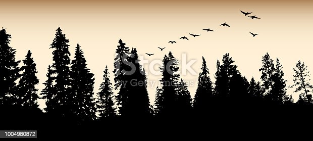 Treeline with sepia sky and geese flying away