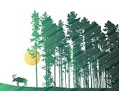 A vector silhouette illustration of a moose in a pine forest.