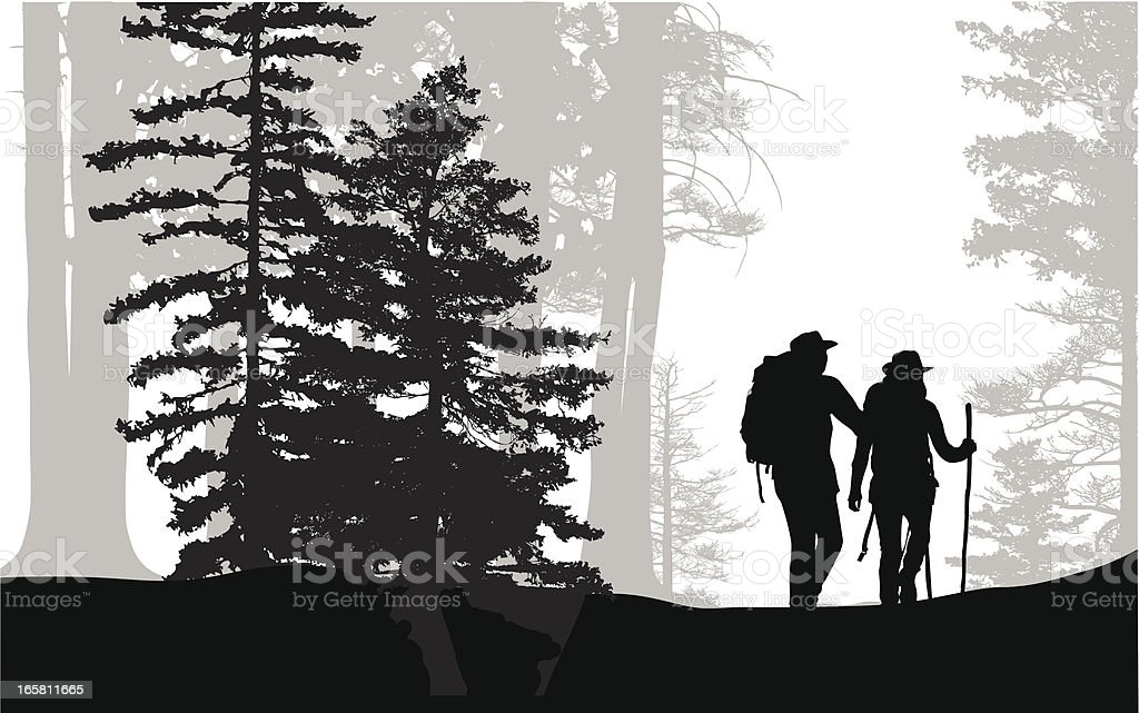 Forest Hike Vector Silhouette royalty-free stock vector art
