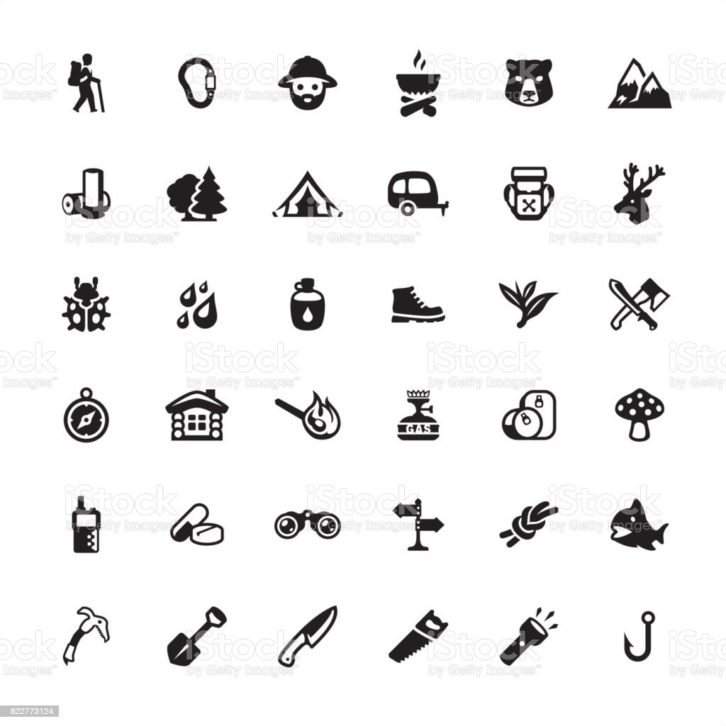 Forest Hiking icon set vector art illustration