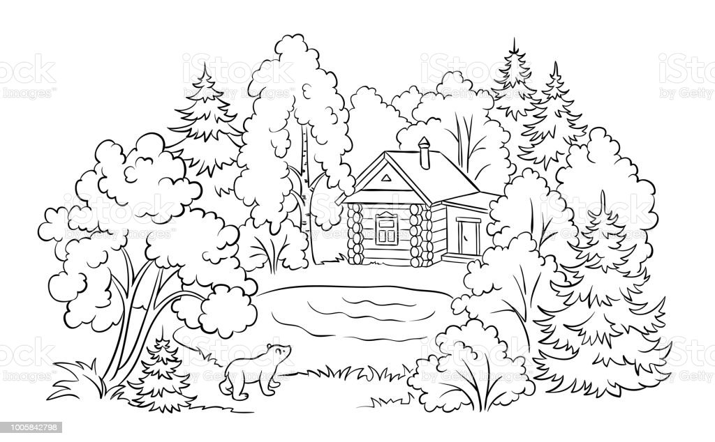 Forest House Near A Lake Coloring Book Illustration Stock Vector Art ...