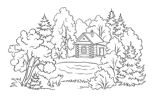 Forest house near a lake - coloring book illustration