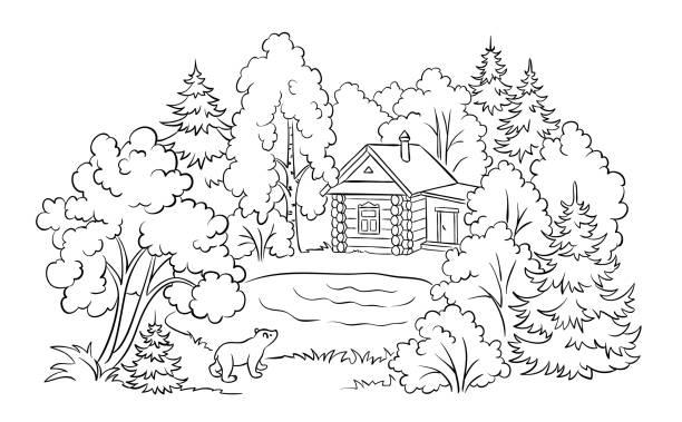 색칠도 서 일러스트-호수 근처 숲 집 - 색칠하기 stock illustrations