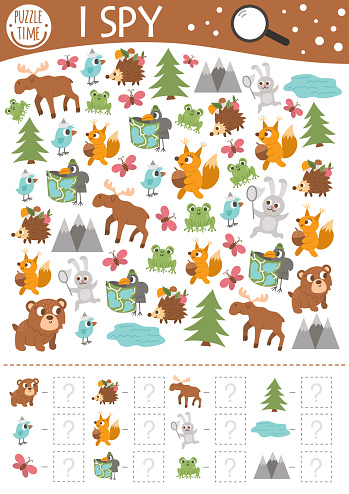 Forest I spy game for kids. Searching and counting activity for preschool children with woodland animals and nature elements. Funny printable worksheet for kids with birds and insects. Simple puzzle.