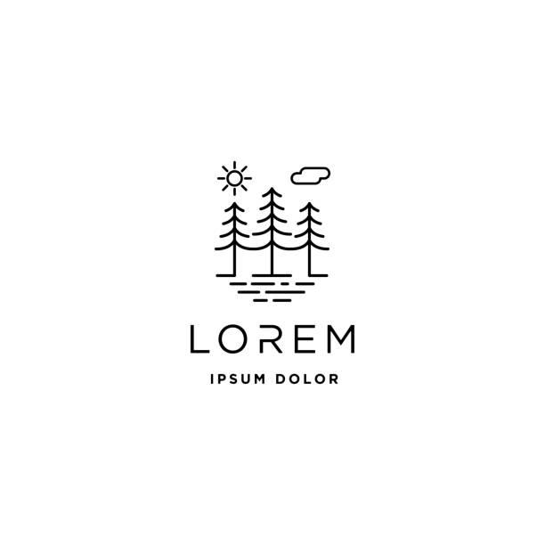 forest icon vector line design landscape symbol - jezioro stock illustrations
