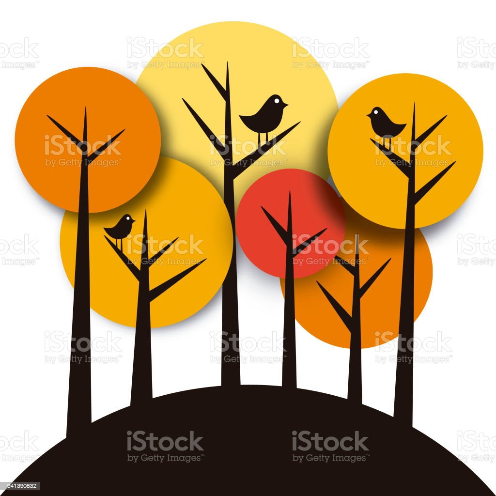 Forest in warm colors vector art illustration