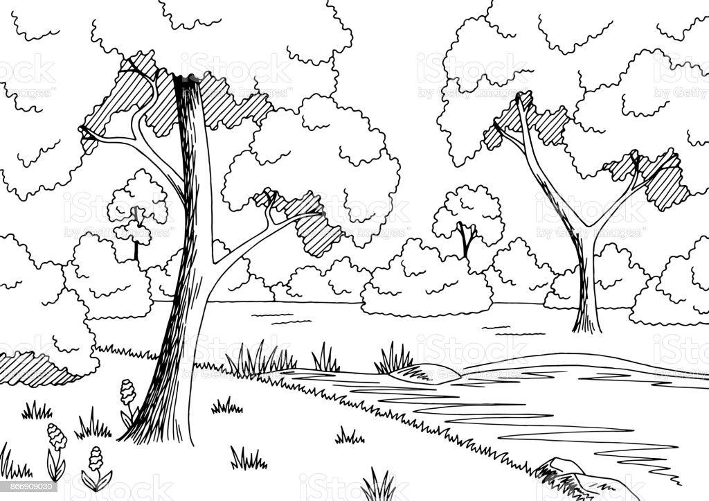 Wald See Grafik Schwarz Weiße Landschaft Skizze Abbildung Vektor