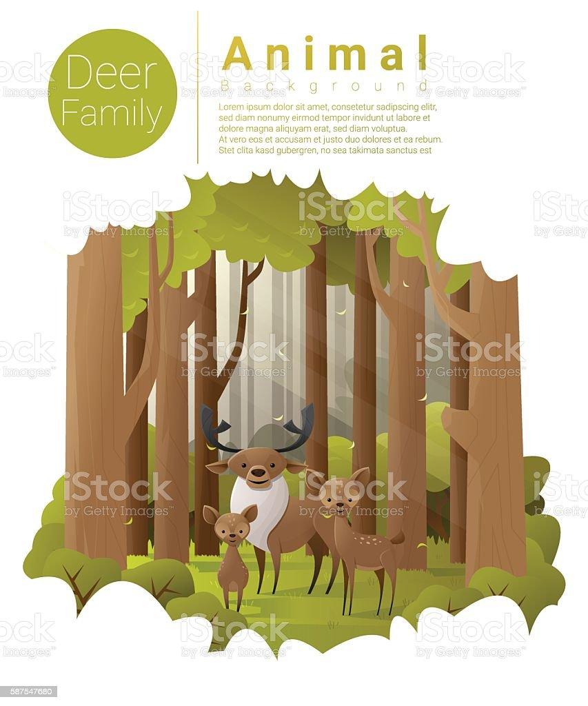 Forest landscape background with deers vector art illustration