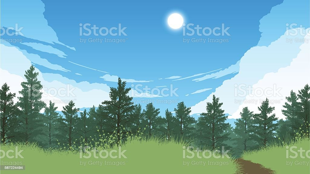 forest landscape illustration vector art illustration