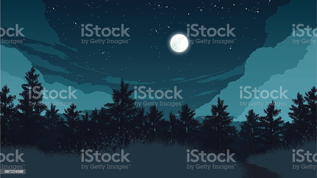 forest landscape illustration vector art illustration