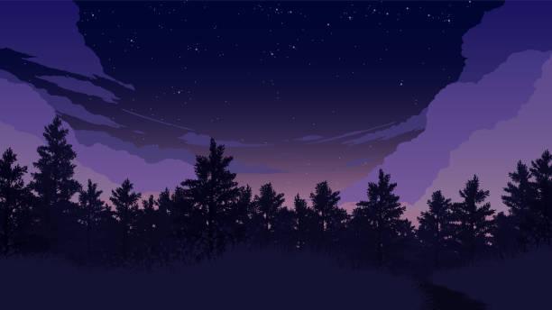 bildbanksillustrationer, clip art samt tecknat material och ikoner med skog landskap illustration - pink sunrise