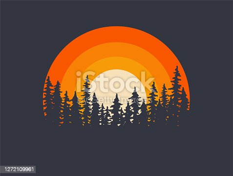 Forest landscape trees silhouettes with sunset on background. T-shirt or poster design illustration. Vector eps 10 illustration