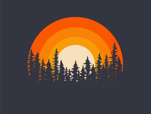 leśne krajobrazy sylwetki z zachodem słońca na tle. t-shirt lub plakat ilustracji projektu. ilustracja wektorowa - zachód słońca stock illustrations