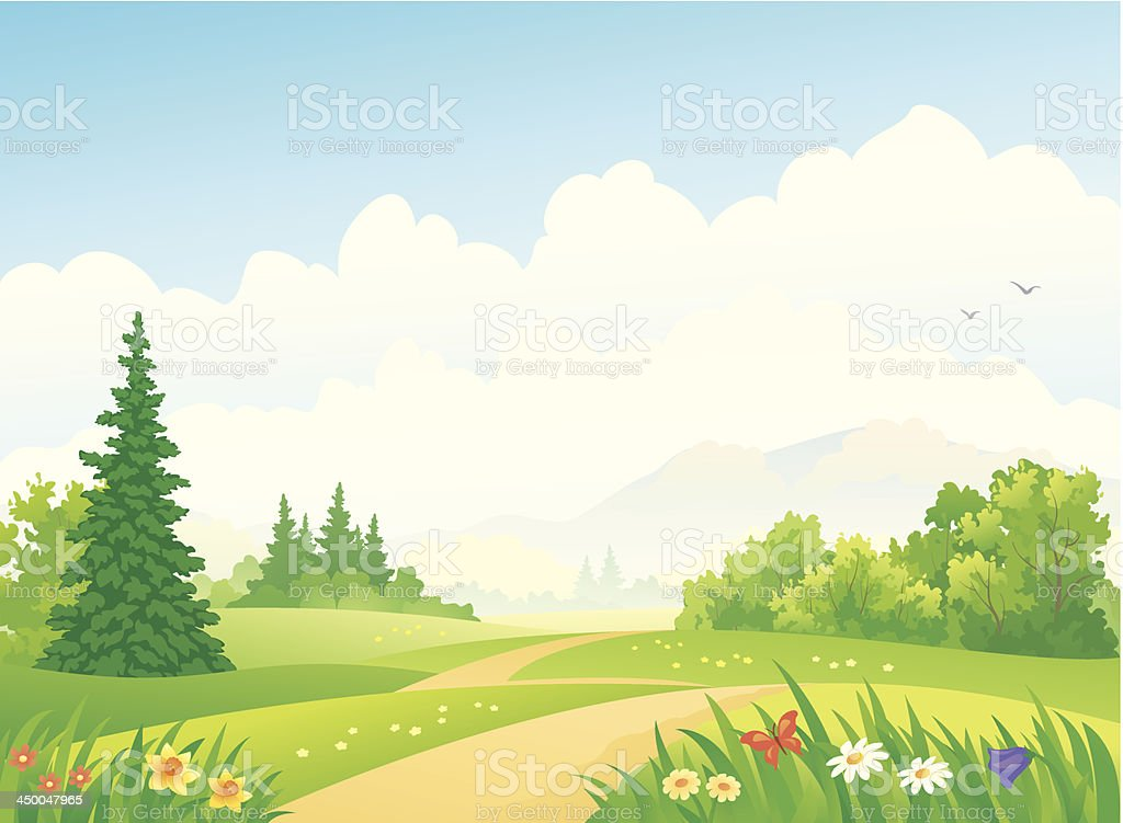 Forest landscape vector art illustration
