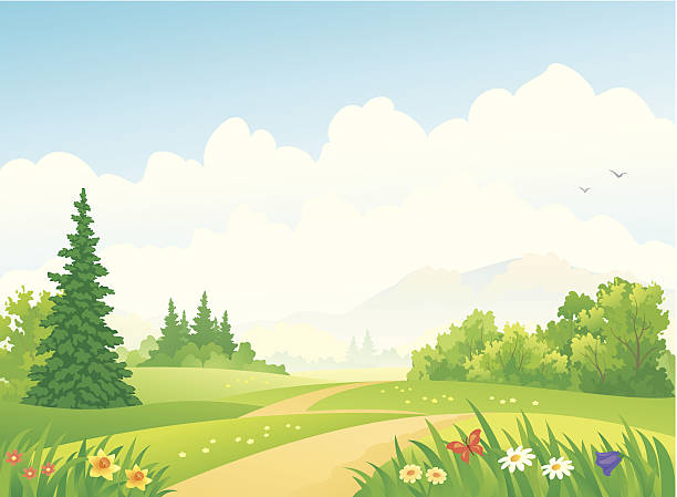 forest landscape - kırsal manzara stock illustrations