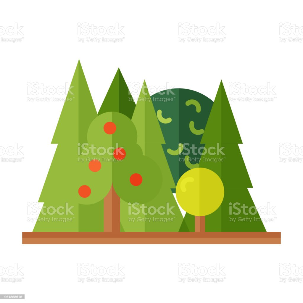 forest landscape with pines bushes in flat style without outline