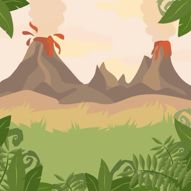ilustraciones, imágenes clip art, dibujos animados e iconos de stock de un paisaje de bosque con las plantas de volcán y la selva - dinosaurio