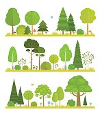 Set of vector flat forest and park elements, including trees, spruce, pine, grass, mushrooms, moss, berries and bushes, combined in landscapes views.