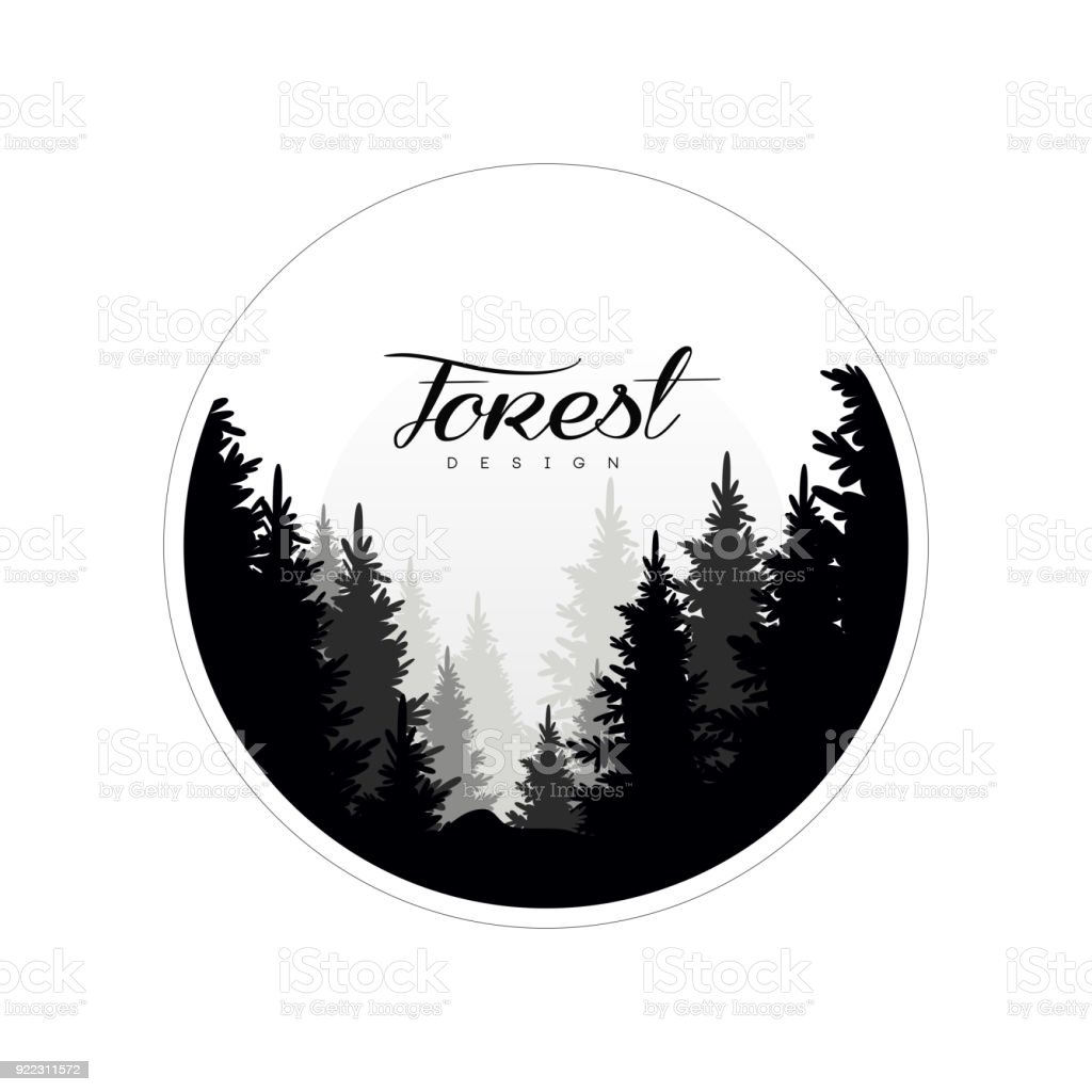 Ilustración de Plantilla De Diseño De Logotipo Bosque Paisaje De La ...