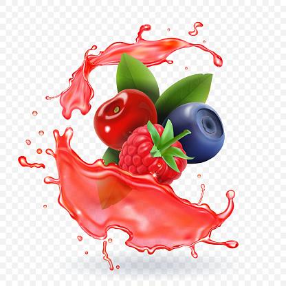Forest Mixed berries juice Splash. 3d realistic vector