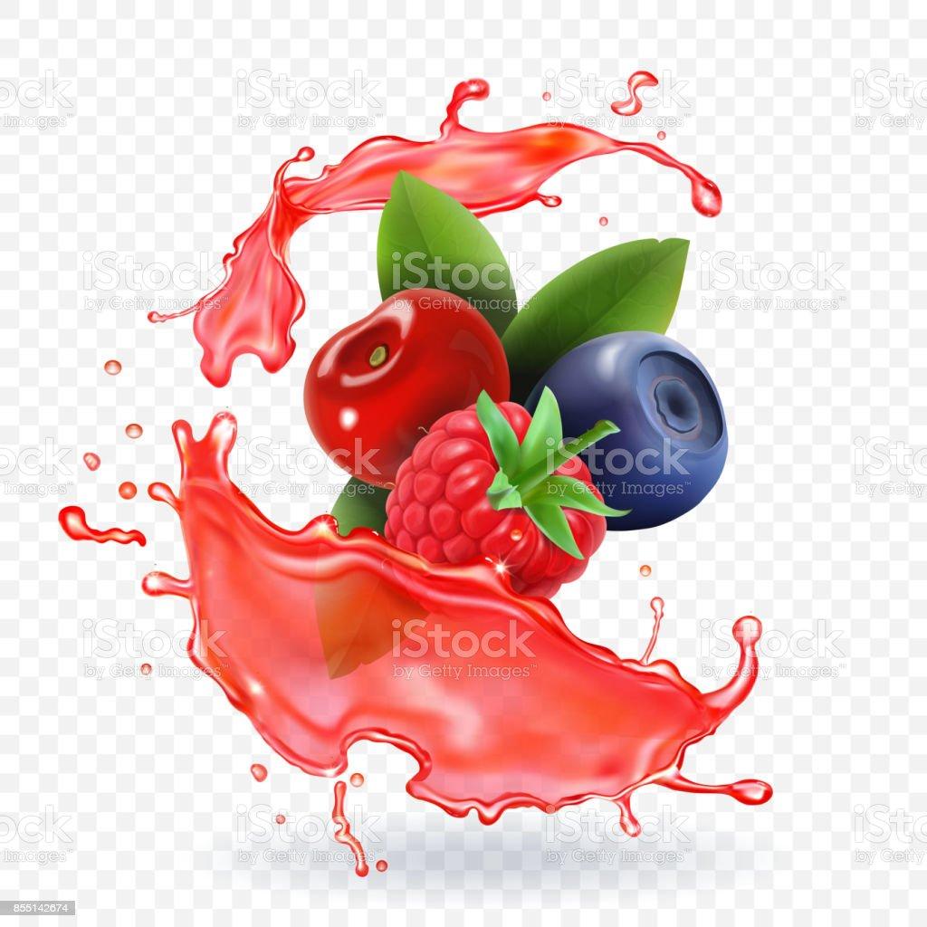 Forest Mixed berries juice Splash. 3d realistic vector vector art illustration