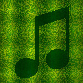 Forest Music Note Sign Binary Numbers Vector Pattern
