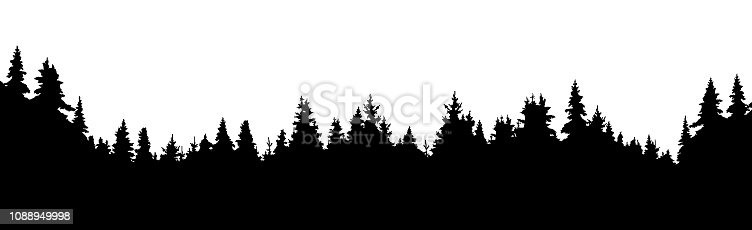 Forest of coniferous trees, silhouette vector background