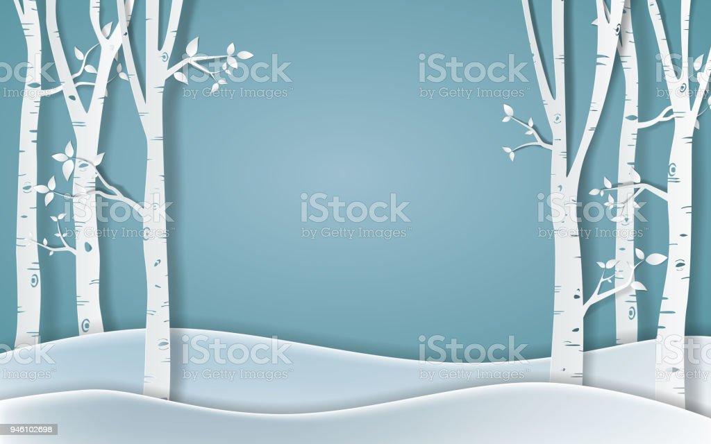 冬の季節、紙ベクトル図の森 ベクターアートイラスト
