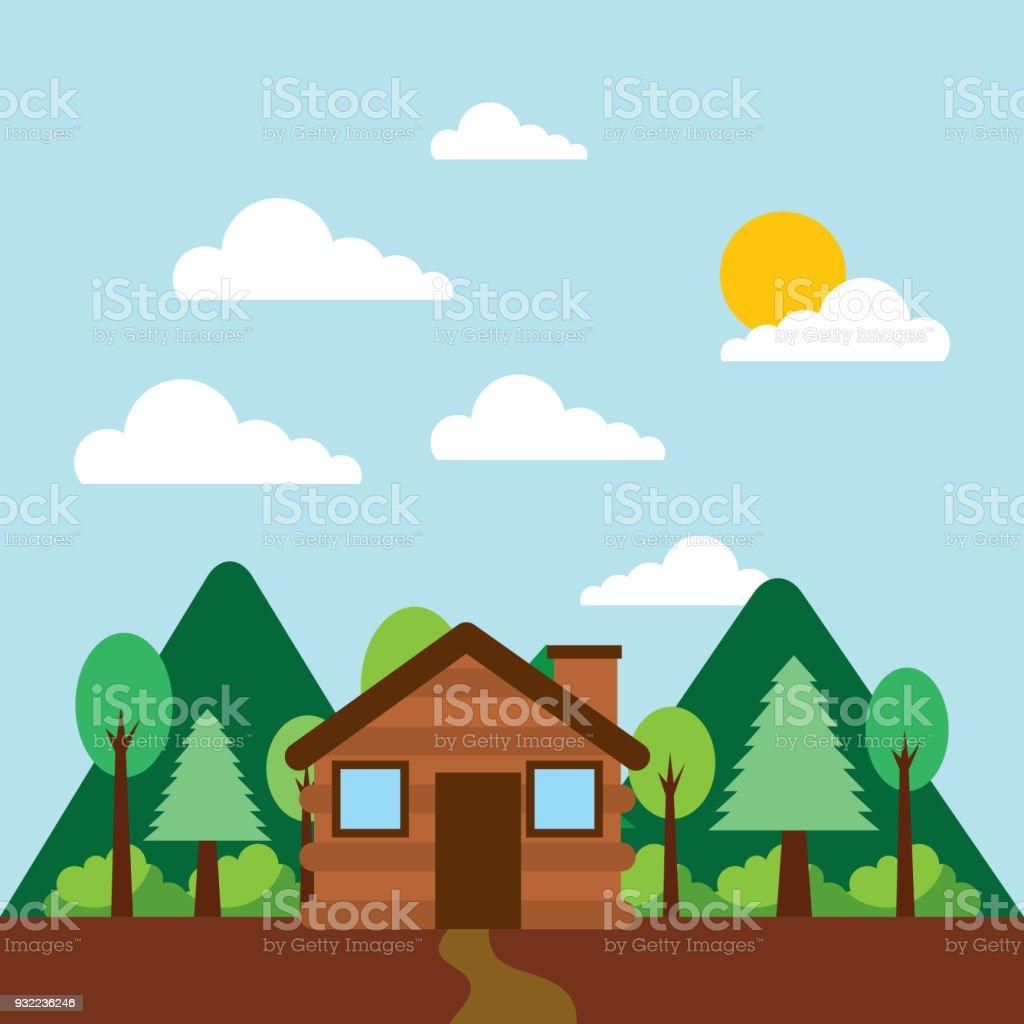 forest outdoor camp vector art illustration
