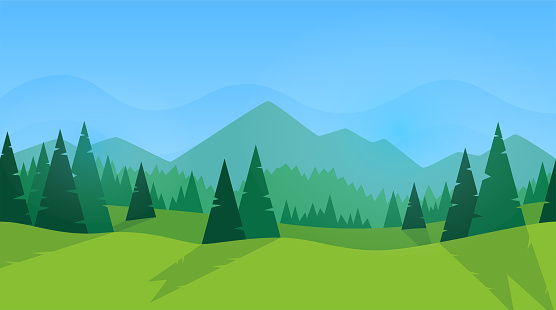 Forest panorama. Green silhouette. Forest with fir trees and pines. Blue sky with clouds. Simple modern design. Template for banner or poster. Place for text. Flat style vector illustration.