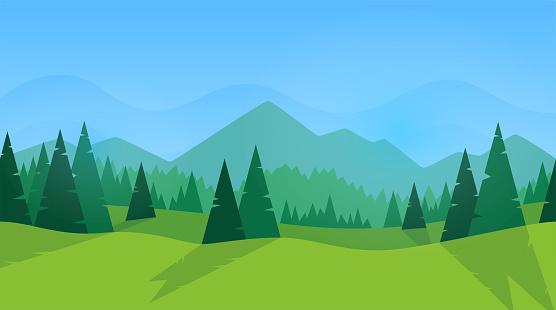 Vetores de Panorama Da Floresta Silhueta Verde Floresta De Abetos E Pinheiros Céu Azul Com Nuvens Design Simples E Moderno Modelo Para Banner Ou Cartaz Lugar Para Texto Ilustração Do Vetor De Estilo Simples e mais imagens de Arte