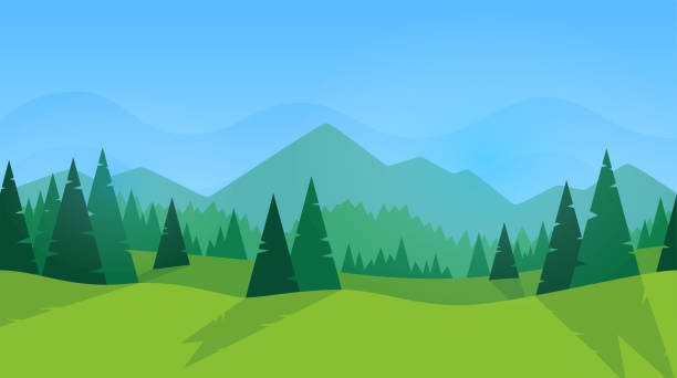 Forest panorama. Green silhouette. Forest with fir trees and pines. Blue sky with clouds. Simple modern design. Template for banner or poster. Place for text. Flat style vector illustration. Forest panorama. Green silhouette. Forest with fir trees and pines. Blue sky with clouds. Simple modern design. Template for banner or poster. Place for text. Flat style vector illustration. mountains stock illustrations