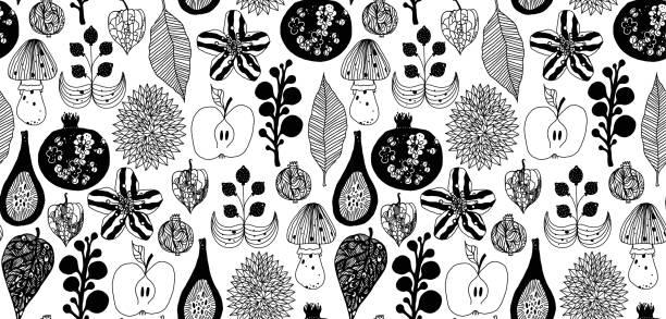bildbanksillustrationer, clip art samt tecknat material och ikoner med skogs mönster med frukter och växter - swedish nature