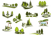 Forest, public park and garden landscapes icons