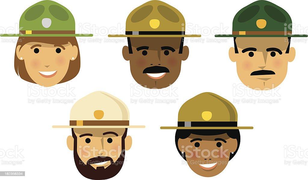Forest Rangers vector art illustration